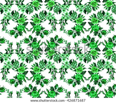 Wallpapers or textile. Monochromatic green  circle  bouquet of flowers (roses, chamomile and cornflowers) using traditional Ukrainian embroidery elements. Seamless. Pattern. Can be used as pixel-art. - stock photo