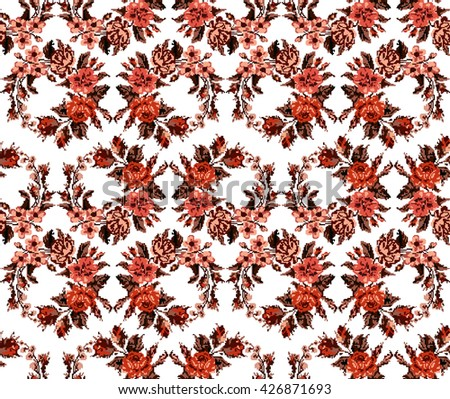 Wallpapers or textile. Monochromatic red circle  bouquet of flowers (roses, chamomile and cornflowers) using traditional Ukrainian embroidery elements. Seamless. Pattern. Can be used as pixel-art. - stock photo