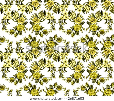 Wallpapers or textile.  Monochromatic yellow circle  bouquet of flowers (roses, chamomile and cornflowers) using traditional Ukrainian embroidery elements. Seamless. Pattern. Can be used as pixel-art. - stock photo