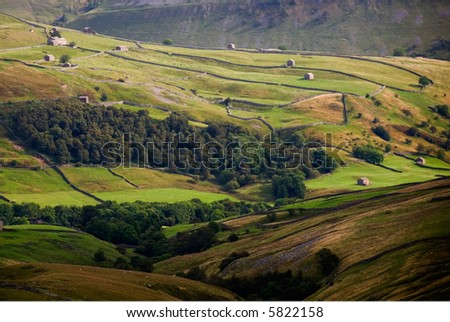 Walls and barns in Swaledale, Yorkshire Dales National Park, North Yorkshire, United Kingdom - stock photo
