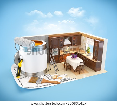 Walls of  a kitchen on a plan. Interior design concept. Wooden kitchen - stock photo