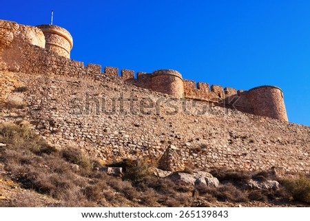 Walls of  castle.  Chinchilla de Monte-Aragon, province of Albacete, Spain - stock photo