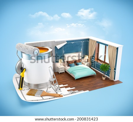 Walls of classic bedroom on a plan. Interior design concept - stock photo