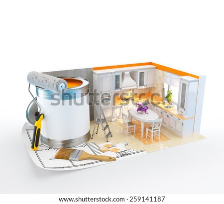 Walls of classical kitchen on a plan. Unusual Interior design concept. 3D - stock photo