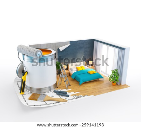Walls of modern bedroom on a plan. Unusual Interior design concept. 3D - stock photo