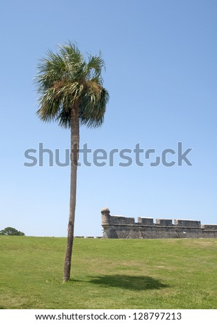 Walls of the old Castillo de San Marcos fort in St. Augustine, Florida - stock photo
