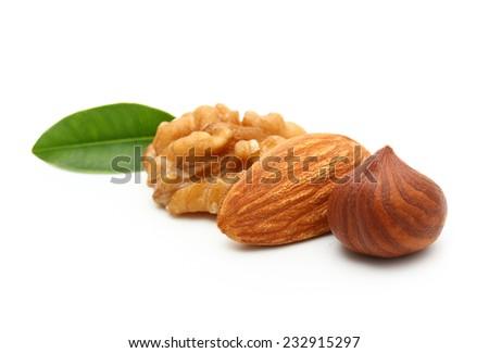 Walnut, almond nut, and hazelnut isolated on white background. - stock photo
