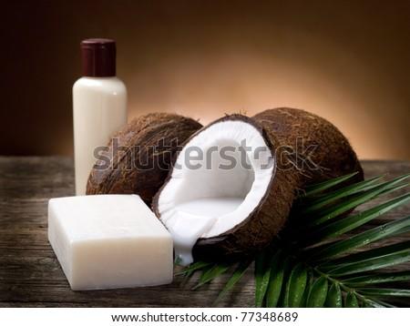 walnut coconut soap - stock photo