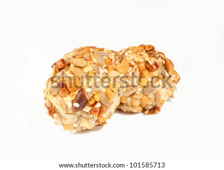 Walnut cookies on a white background - stock photo