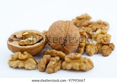 walnut isolated on the white background - stock photo
