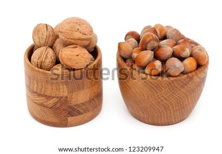 walnuts and hazelnuts - stock photo