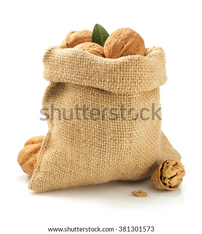 walnuts in bag isolated on white background - stock photo