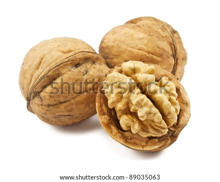walnuts isolated on a white background - stock photo