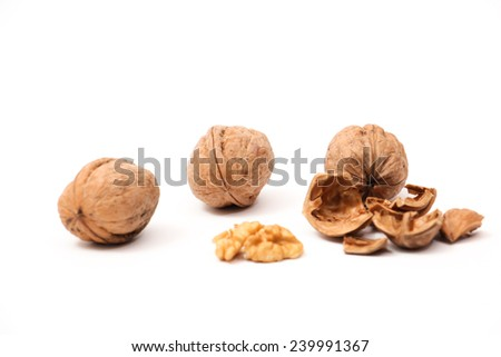 Walnuts isolated on the white background. - stock photo