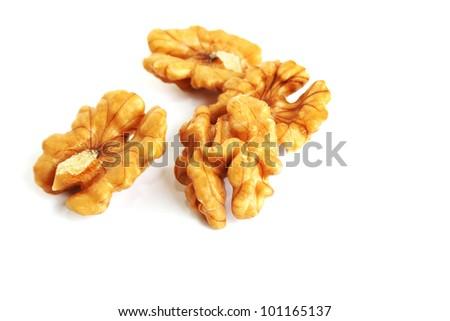 Walnuts isolated on white background. - stock photo