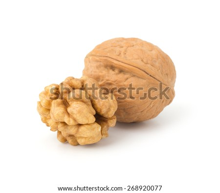 Walnuts isolated on  white background - stock photo