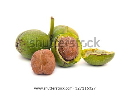 Walnuts(Juglans regia) on white background - stock photo