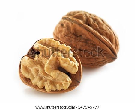 walnuts macro on white background - stock photo