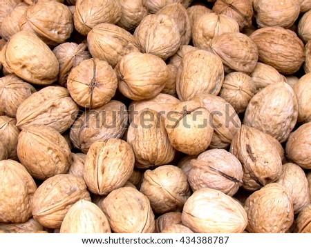 Walnuts on bazaar Carmel in Tel Aviv, Israil - stock photo