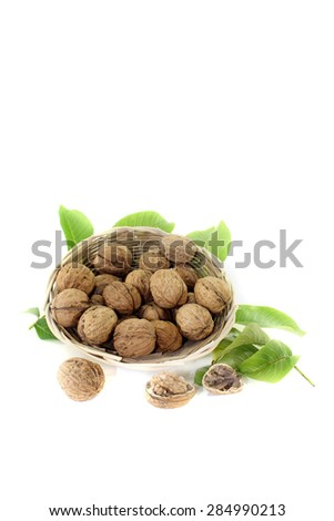 walnuts with walnut leaves in a basket on bright background - stock photo