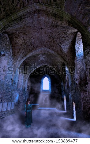 Wandering anchoress cloistered in a dark castle - stock photo