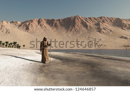 wandering monk - stock photo