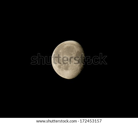 Waning Gibbous Moon during January 2014, showing craters. - stock photo