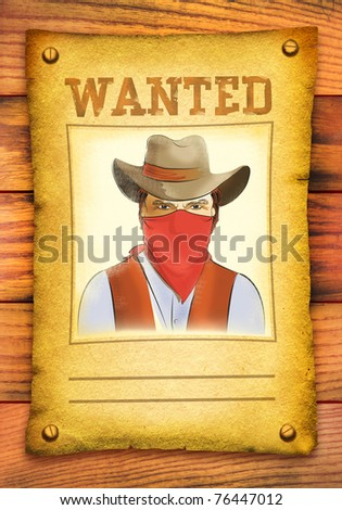 Wanted poster with bandit face in red mask on wood wall - stock photo