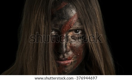 War face camouflage soldier girl - stock photo