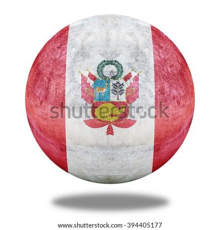 War flag of Peru flag pattern on stone circle shape texture - stock photo