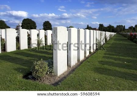 War Graves at Tyne Cot in Belgium - stock photo