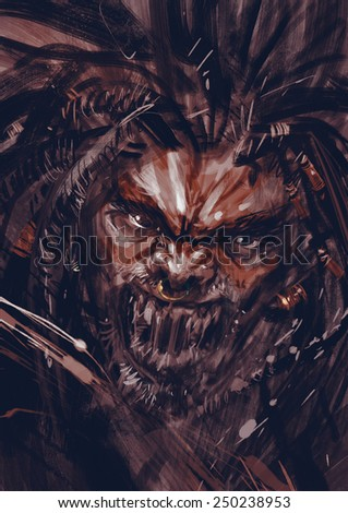 war paint on face of horror character.digital painting - stock photo