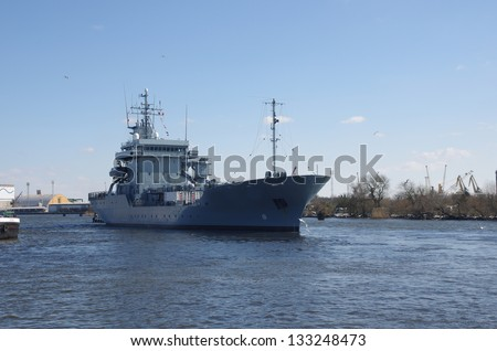 war sailing out from harbour ship - stock photo
