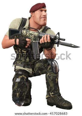 war soldier 3d illustration - stock photo