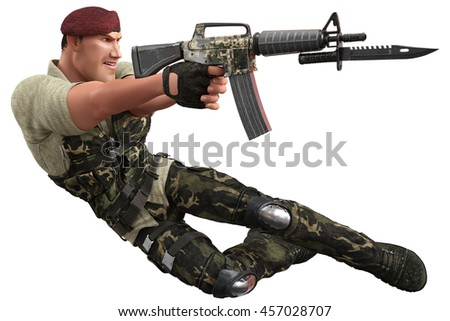 war soldier jumping and killing 3d illustration - stock photo