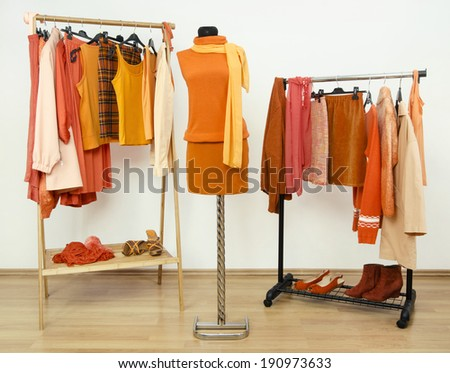 Wardrobe with orange clothes arranged on hangers and an outfit on a mannequin. Dressing closet full of all shades of orange clothes, shoes and accessories. - stock photo