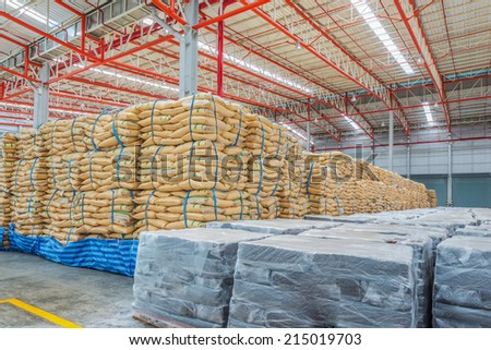 Warehouse and the surgar bag , ruber - stock photo
