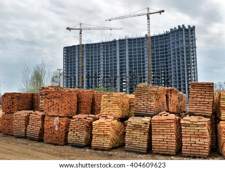 Warehouse bricks on building background - stock photo