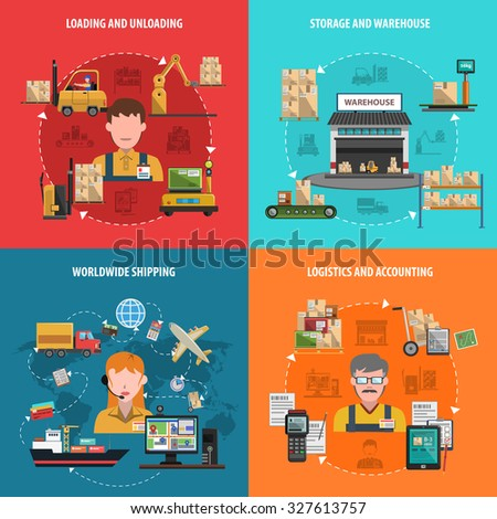 Warehouse design concept set with worldwide logistic flat icons isolated  illustration - stock photo