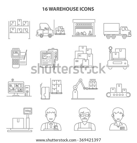 Warehouse Icons Outline - stock photo