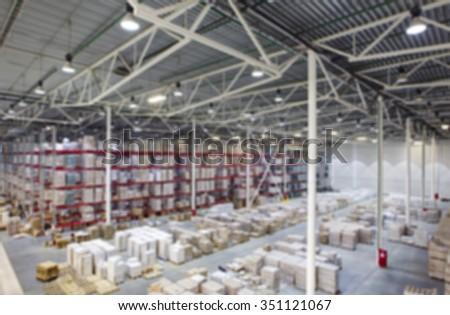 warehouse interior shallow depth of focus - stock photo