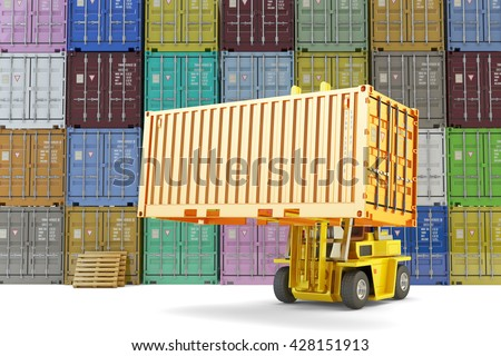 Warehouse logistics, shipping, shipment and freight transportation concept, loading and unloading operations, forklift truck and stacked multicolored cargo containers on background, 3d illustration - stock photo