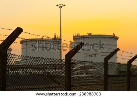 Warehouse of oil products.Fuel Tanks - stock photo