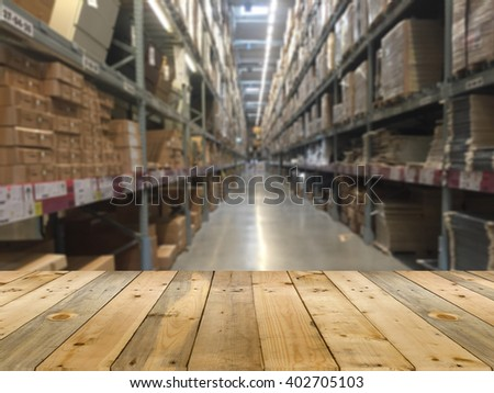 warehouse or storehouse blur defocused - stock photo