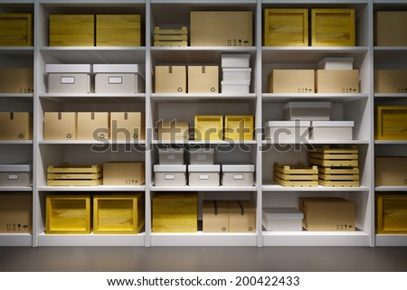 warehouse with goods on the shelf - stock photo