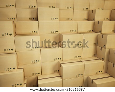 warehouse with stack of cardboard boxes - stock photo