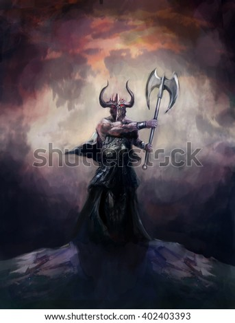 warlord the mighty demon knight  - stock photo