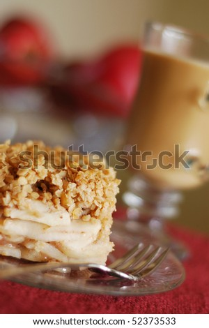 Warm Apple Crisp and Hot Coffee Ready to Eat - stock photo