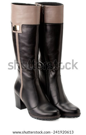 warm boots with high tops, with insert - stock photo
