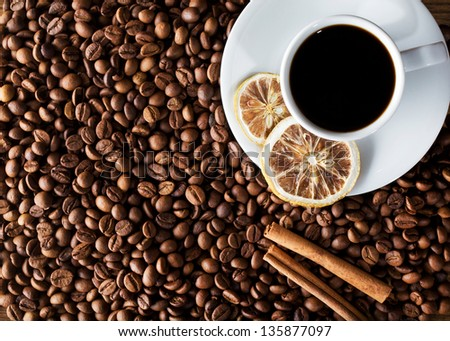 warm cup of coffee as background - stock photo